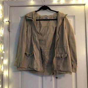 Tan Hooded Lightweight Jacket